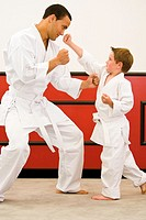 Boy 4-5 years performing karate punches with man
