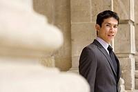 Businessman, portrait differential focus