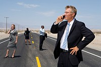 Small group of businessmen and women using mobile phones on road in desert, side view