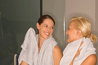 Portrait of two women with towels