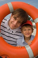 Father and son portrait with life saver
