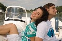 Happy couple on boat