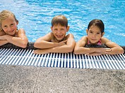 Happy children in pool