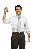 Businessman holding car keys (thumbnail)
