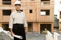 Male architect wearing hard hat