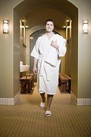 Man in bathrobe at spa