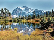 Mt. Shuksan reflecting in Picture Lake at the Mt. Baker Ski Area in the autumn, Washington State, USA