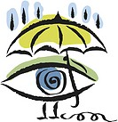 eye under an umbrella
