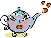 Teapot with face and hearts
