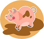 Illustration of a little pig