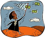 An illustration of a businesswoman catching money using a net