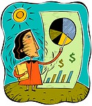 An illustration of a woman pointing to a pie chart