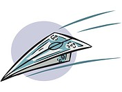Illustration of a money airplane flying