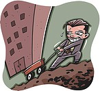 Businessman pulling a building uphill in a wagon (thumbnail)