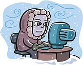 A man working with a computer in an extreme weather condition