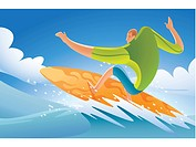 Illustration of a man surfing