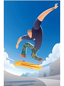 Illustration of a guy skateboarding