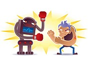 An illustration of a man boxing with a robot