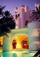 Night view of the Jardín Tropical hotel, Adeje. Tenerife, Canary Islands, Spain