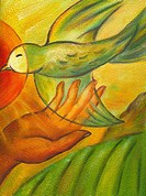 An illustration of a hand holding a dove