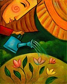 An illustration of a woman watering flowers