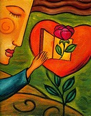 Woman opening the door to a heart that has a rose coming out of it
