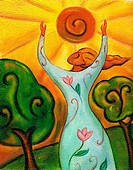 An illustration of a woman putting her arms up to the sun