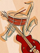 An illustration of musical instruments