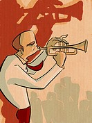 A picture of a man playing the trumpet