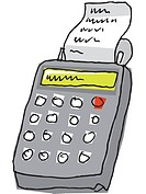A drawing of a grey calculator