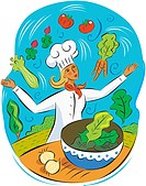 A chef juggling healthy food
