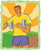 Drawing of a man lifting weights