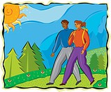 An illustration of a man and a woman hiking (thumbnail)