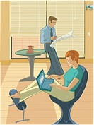 An illustration of a couple relaxing at home