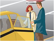 An illustration of a couple getting into a taxi cab