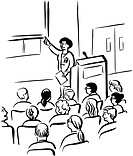 Students attending a lecture drawn in black and white