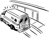 Black and white drawing of an emergency ambulance