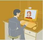 An illustration of a businessman having an online meeting