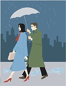 A businessman holding an umbrella for a businesswoman
