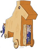 A group of businessmen hiding in a trojan horse
