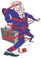 Businessman caught in red tape (thumbnail)