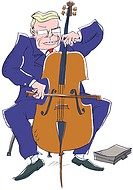 A picture of a businessman playing a cello