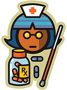 Nurse with pills and thermometer
