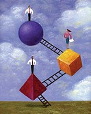 An illustration of three people standing on shapes connected to ladders