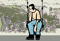 An illustration of a man sitting by the roadside watching people