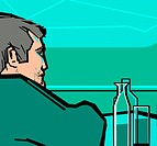 An illustration of a man at the bar