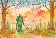 Man raking leaves (thumbnail)