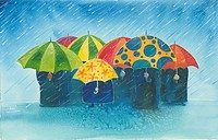 group of people holding umbrellas