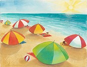 People sitting under beach umbrellas on a sunny day