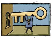 A man inserting a giant key into the keyhole (thumbnail)